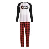 Christmas Family Matching Sleepwear Pajamas Plaids Christmas Trees Slogan Tops And Plaids Pants
