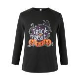 Halloween Family Matching Pajamas Smile Pumpkin House And Trick Or Treat Slogan Tops And Printing Pants