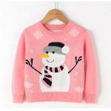 Toddler Kids Girl Christmas Snowman Snowflake Knit Pullover Sweater