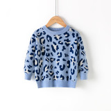 Toddler Girls Prints Leopards Knit Pullover Sweater