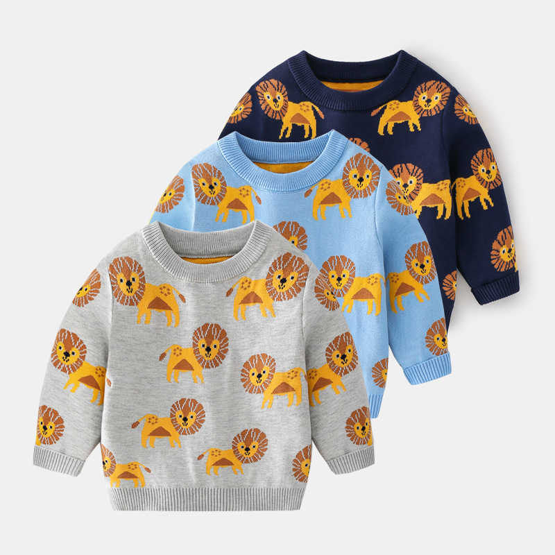 Toddler Boys Prints Lion Knit Pullover Sweater