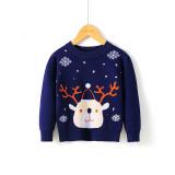 Toddler Kids Girl Deer Snowflake Knit Pullover Sweater