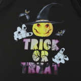 Halloween Family Matching Pajamas Smile Pumpkin And Trick Or Treat Slogan Tops And Ghost Printing Pants