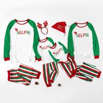 Christmas Family Matching Sleepwear Pajamas Christmas Hat Slogan Tops And Vertical Stripe Pants