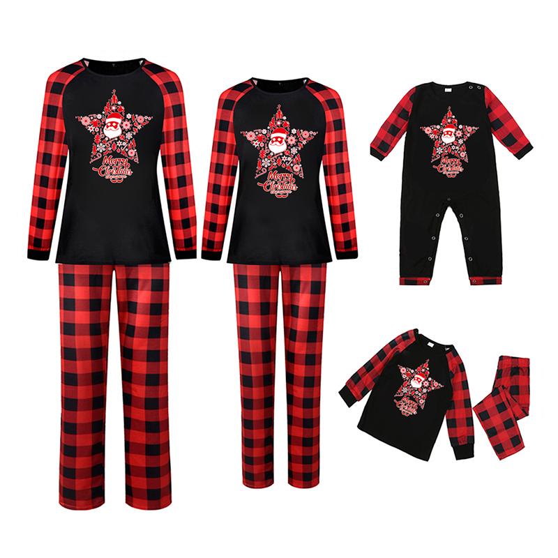 Christmas Family Matching Sleepwear Pajamas Santa Pentagram Slogan Tops And Plaids Pants