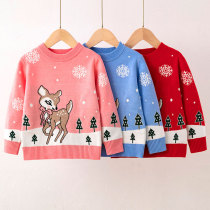 Toddler Girl Christmas Snow Deer Knit Pullover Sweater