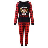 Christmas Family Matching Sleepwear Pajamas 2021 Slogan Mask Deer Tops And Plaids Pants