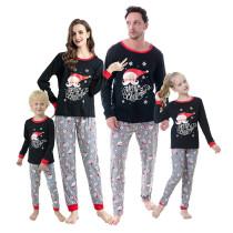 Christmas Family Matching Sleepwear Pajamas Black Santa Slogan Tops And Gray Printing Pants