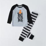 Halloween Family Matching Sleepwear Pajamas Trick Or Treat Slogan Pumpkin Printing Tops And Stripes Pants