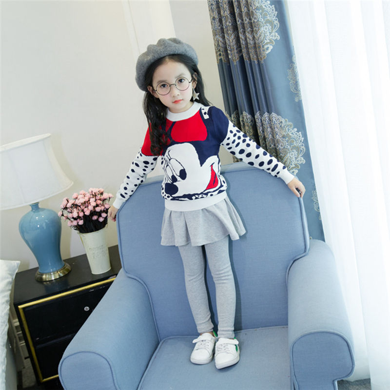 Toddler Kids Mickey Mouse Dots Wool Pullover Sweater For Boys and Girls