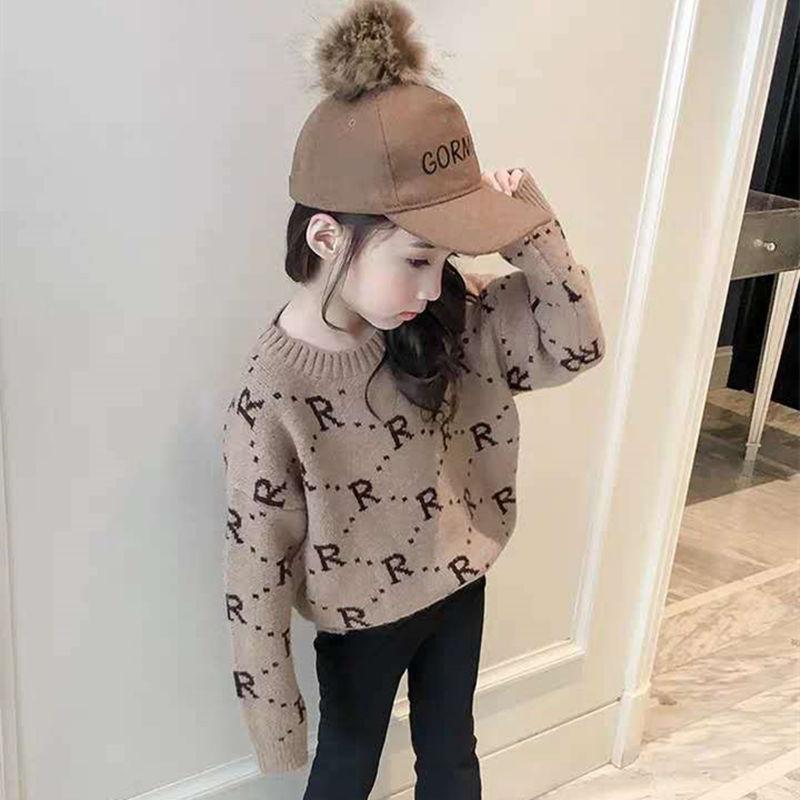 Toddler Kids Letter Alphabet R Design Wool Pullover Sweater