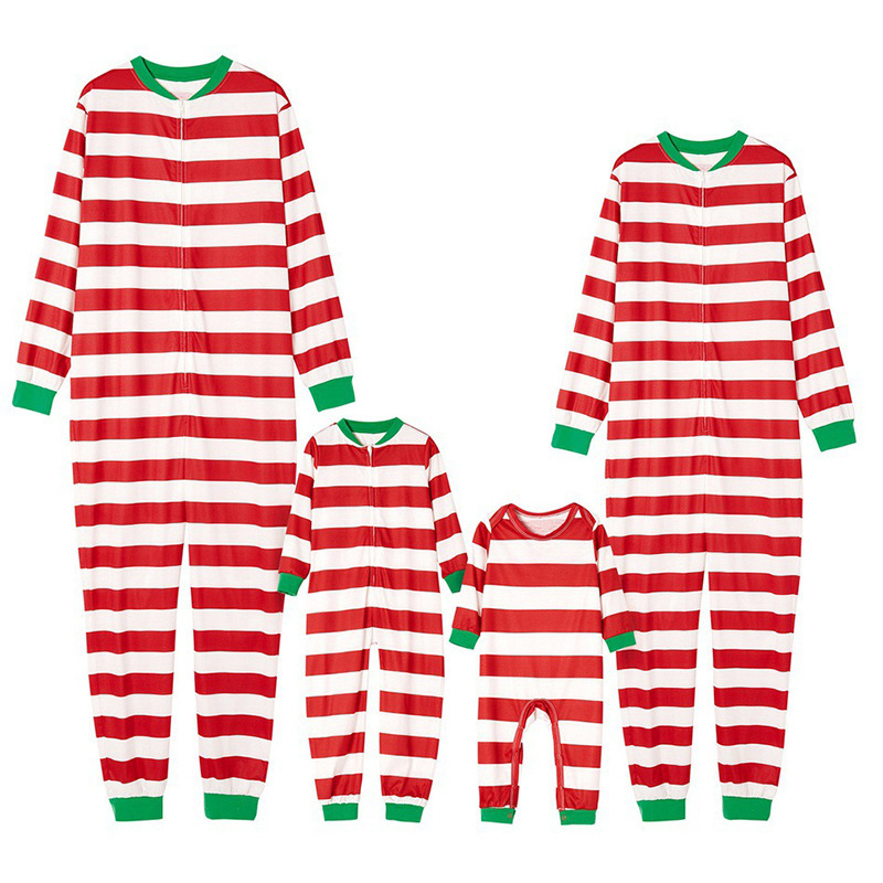 Christmas Family Matching Sleepwear Pajamas Red And White Stripes Jumpsuits Sets