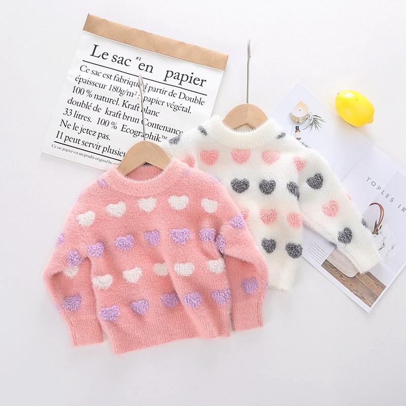 Toddler Kids Girl Loving Heart Wool Warm Top Pullover Sweater