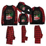 Christmas Family Matching Sleepwear Pajamas Slogan Snowman Tree Pattern Tops And Plaids Pants