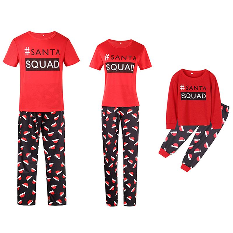 Christmas Family Matching Sleepwear Pajamas Santa Squad Slogan Tops And Christmas Hat Printing Pants