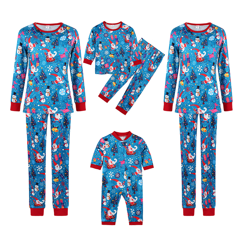 Christmas Family Matching Sleepwear Pajamas Santa Snowman Gift Box Pattern Printing Sets