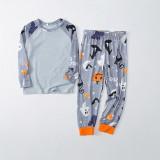 Halloween Family Matching Sleepwear Pajamas Gray Cat Pumpkin Ghost Printing Sets