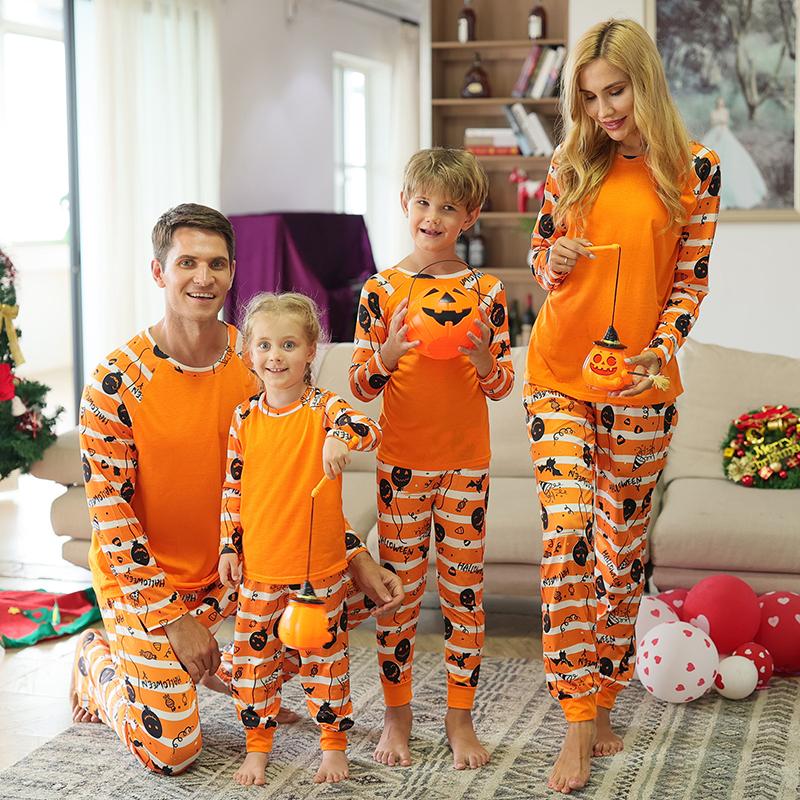 Halloween Family Matching Sleepwear Pajamas Grimace Pumpkin Printing Stripes Sets
