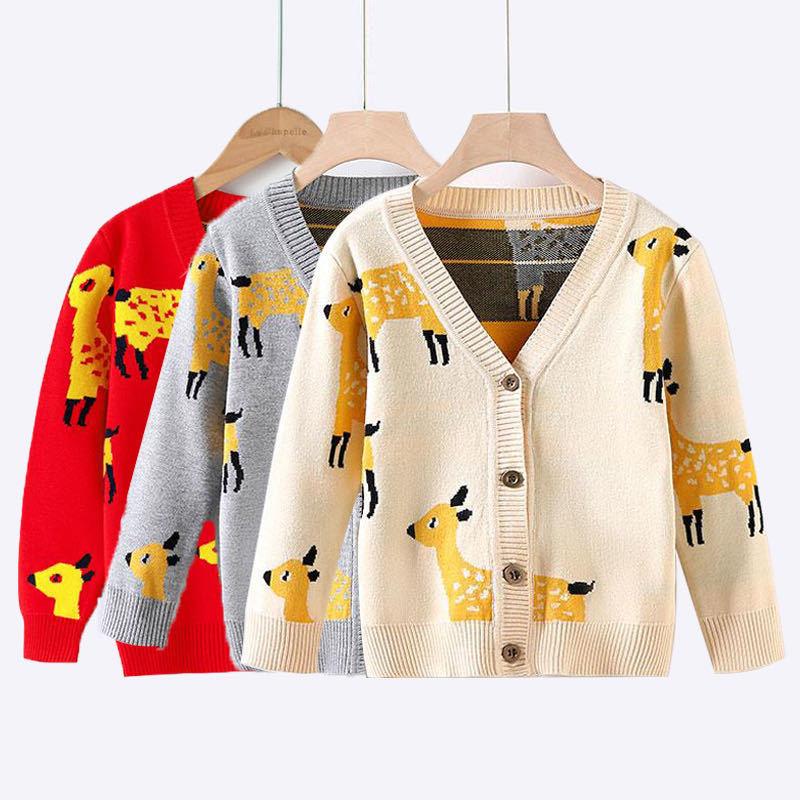 Toddler Kids Girl Deer Knit Cardigan Sweater