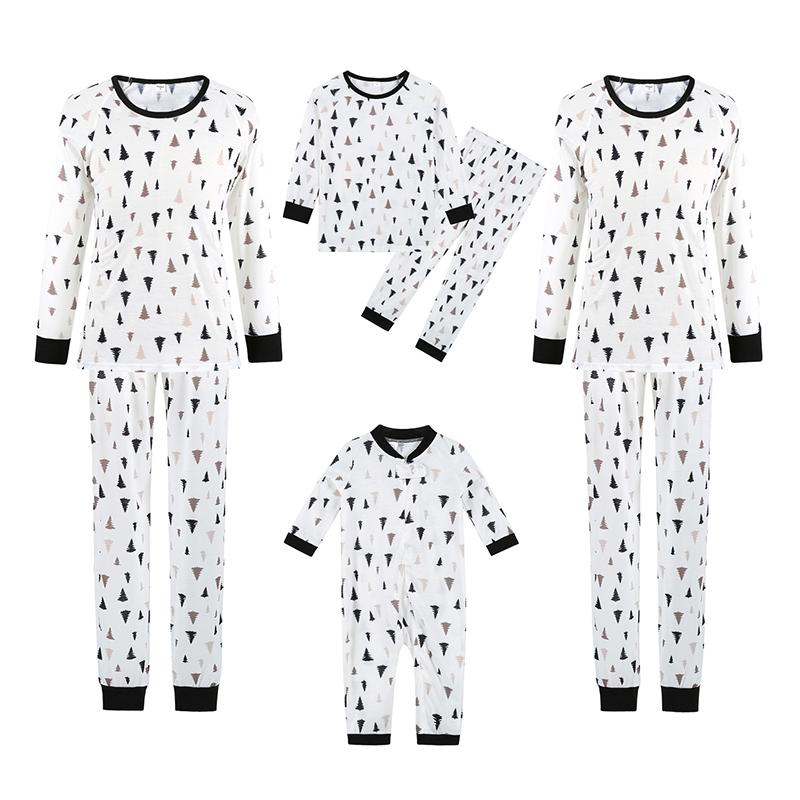 Christmas Family Matching Sleepwear Pajamas Christmas Trees Printing Sets