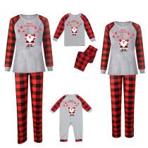 Christmas Family Matching Sleepwear Pajamas Santa Christmas Decoration Pattern Tops And Plaids Pants