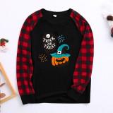 Halloween Family Matching Sleepwear Pajamas Trick Or Treat Slogan Pumpkin Skull Pattern Tops And Plaids Pants