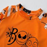 Halloween Family Matching Sleepwear Pajamas Boo Slogan Grimace Pumpkin Printing Stripes Sets