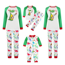 Christmas Family Matching Sleepwear Pajamas Guitar Dinosaur Hohoho Slogan Tops And Printing Pants