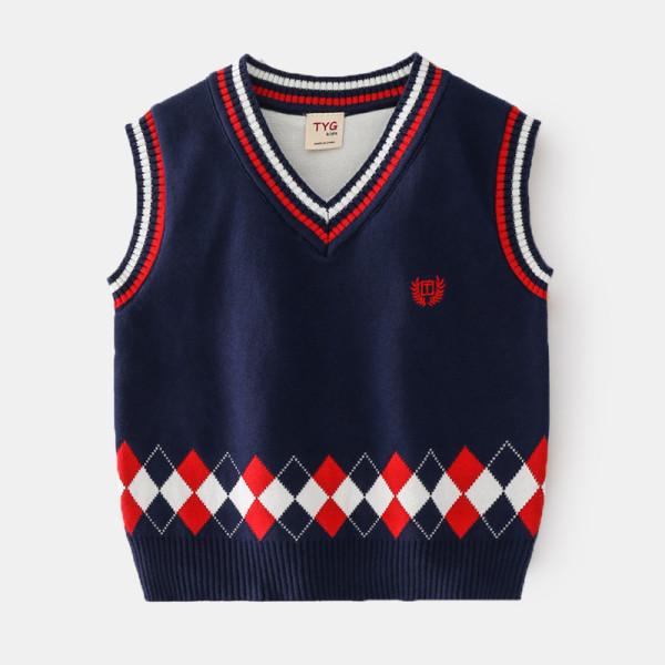 Toddler Boys Letter Vest V Neck Knit Plaid Pullover Sweater