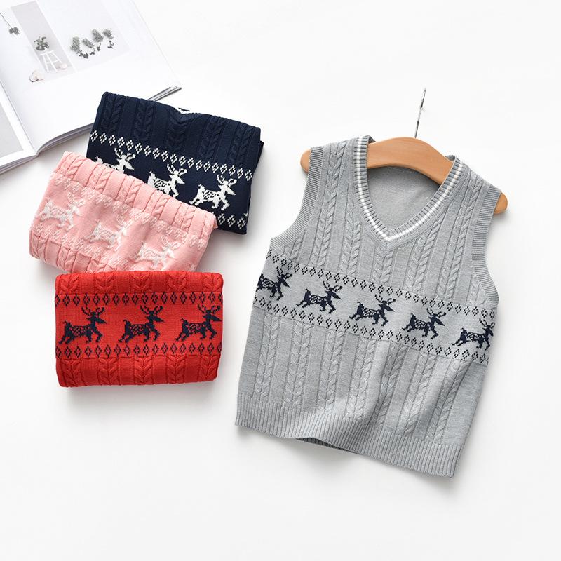 Toddler Kids Chirstmas Xmas Deer Wool Warm Top Pullover Sweater Vest