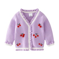 Toddler Girl Embroidery Cherries Knit Cardigan Sweater