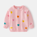 Toddler Girl Color Hearts Knit Pullover Sweater