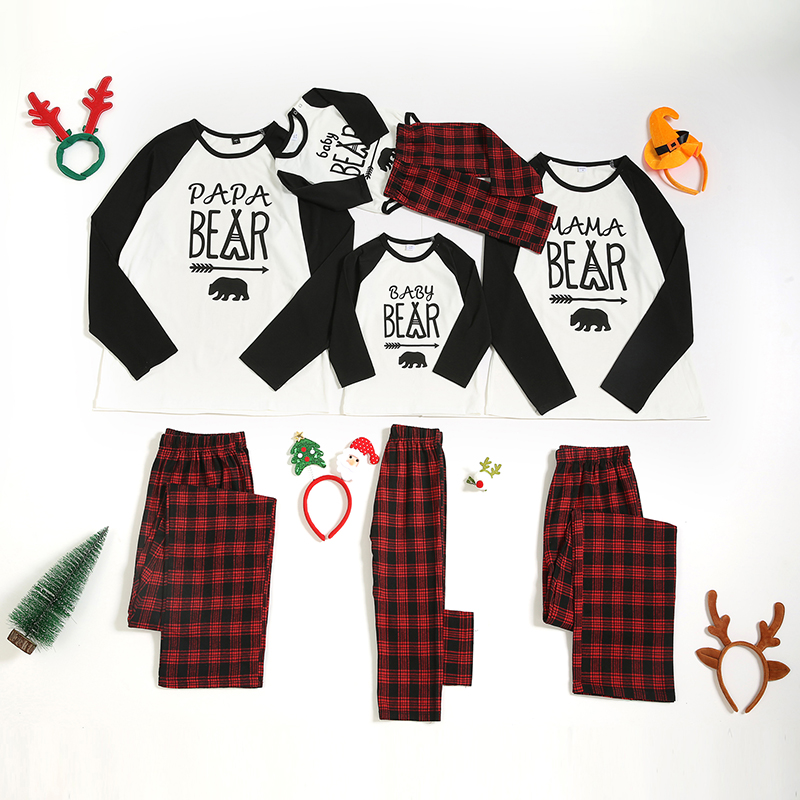 Christmas Family Matching Sleepwear Pajamas Bear Slogan Tops And Plaids Sets