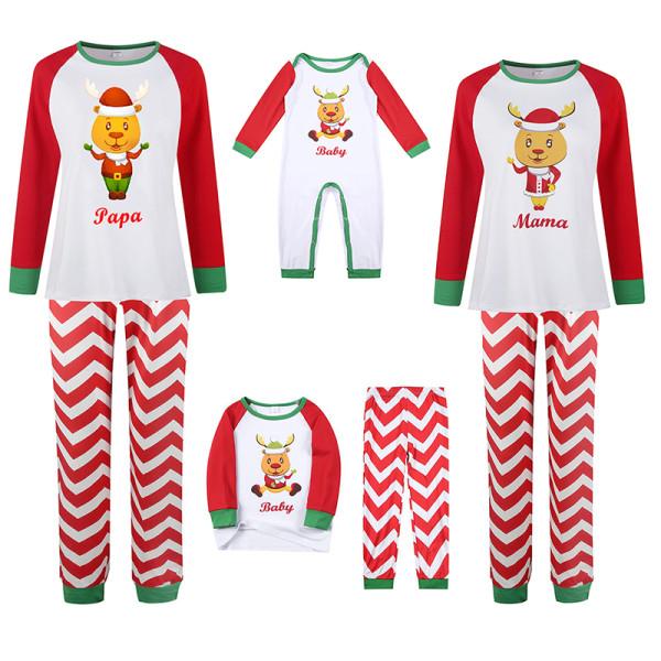 Christmas Family Matching Sleepwear Pajamas Cute Christmas Deer Slogan Tops And Sawtooth Pants