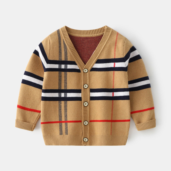 Toddler Boys Knit V Neck Cardigan Stripe Sweater