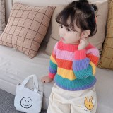 Toddler Kids Girl Rainbow Stripes Wool Warm Top Pullover Sweater