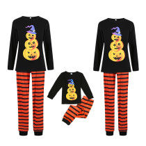 Halloween Family Matching Sleepwear Pajamas Pumpkin Pattern Tops And Stripes Pants