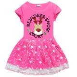 Toddler Girl Christmas Elk Short Sleeve Princess Dress