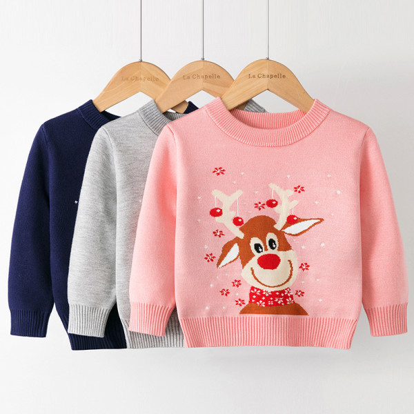 Toddler Girl Cute Christmas Deer Knit Pullover Sweater