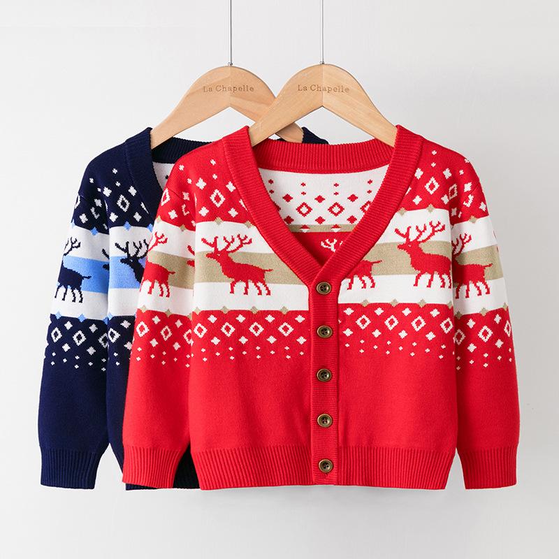 Toddler Girl Printing Deer Knit Cardigan Sweater
