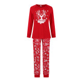 Christmas Family Matching Sleepwear Pajamas Red Deer Head Slogan Tops And Bell Printing Pants