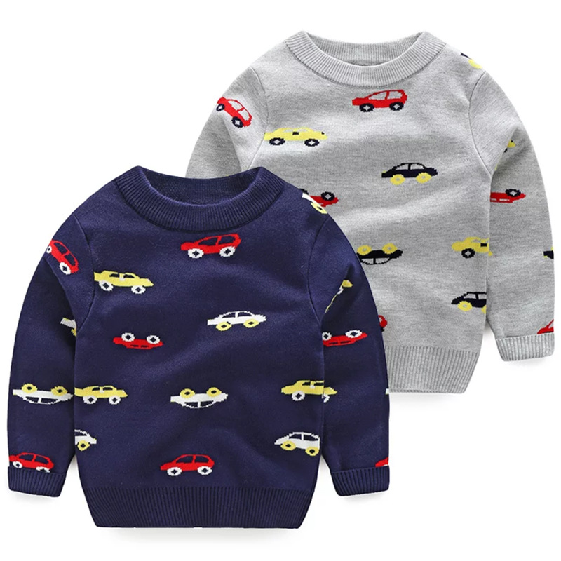 Toddler Kids Boy Cars Wool Pullover Sweater
