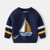 Toddler Boys Prints Sailing Crab Knit Pullover Sweater