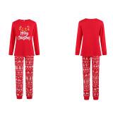 Christmas Family Matching Sleepwear Pajamas Red Antler Slogan Tops And Deer Printing Pants Sets