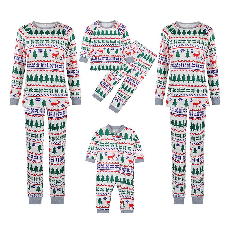 Christmas Family Matching Sleepwear Pajamas Deer Trees Pattern Printing Sets