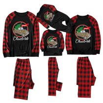 Christmas Family Matching Sleepwear Pajamas Leopard Car Trees Slogan Pattern Tops And Plaids Pants