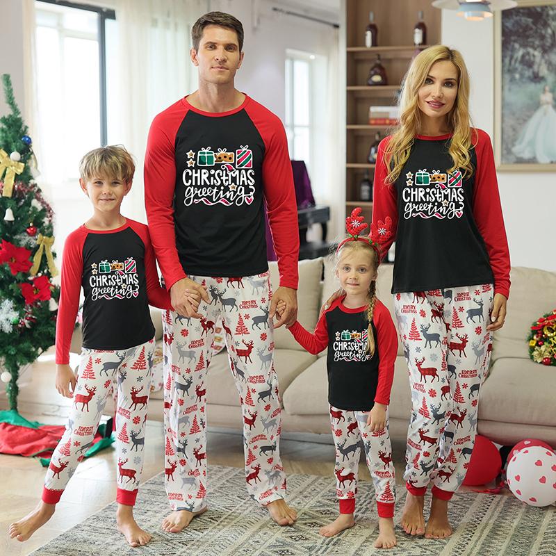 Christmas Family Matching Sleepwear Pajamas Gift Box Slogan Tops And Deer Printing Pants