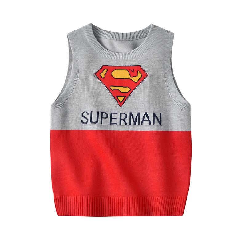 Toddler Kids Boy Super Man Wool Warm Top Pullover Sweater Vest