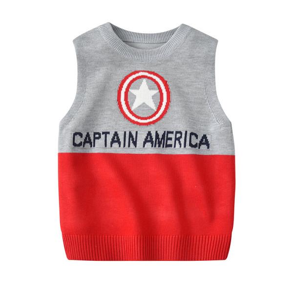 Toddler Kids Boy Captain America Wool Warm Top Pullover Sweater Vest
