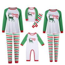 Christmas Family Matching Sleepwear Pajamas Green Plaids Deer Slogan Tops And Plaids Pants